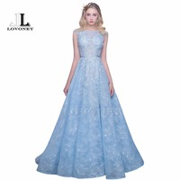 LOVONEY Sexy See Through Back Lace Evening Dress Long Formal Party Dresses With Appliques Beaded 2017