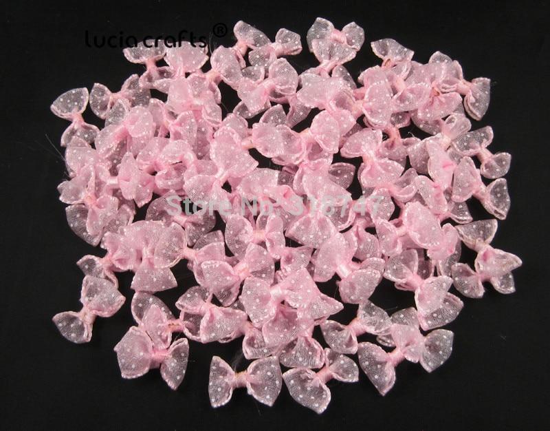 Lucia crafts, 2,5 см, 12 шт./24 шт., банты из органзы в горошек, для девочек, бутик, мини бант для волос, головной убор, сделай сам, одежда для рукоделия, B0810 - Цвет: Pink 12pcs