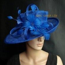 Кобальт Королевский синий Sinamay шляпа формальное платье шляпа с перьями цветок для Кентукки Дерби. Свадебные церкви. Вечерние