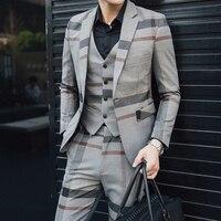 5XL Formal Dress Grey Mens Wool Suits Mens Vintage Suits Plaid 3 Piece Suit Men Heren Kostuums 3 Delig Trajes Formales De Hombre