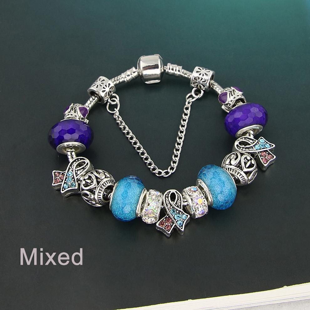 Glass Bead Charm Bracelet - Mixed