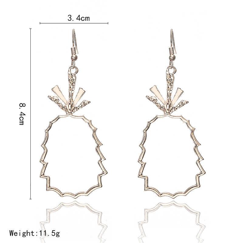Богемные геометрические розовые золотые ананасы Висячие серьги для женщин модные ювелирные аксессуары