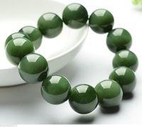 Бесплатная доставка 435 зеленый китайский 100% Класс естественный гладкой Бусины камень/Жадеит браслет