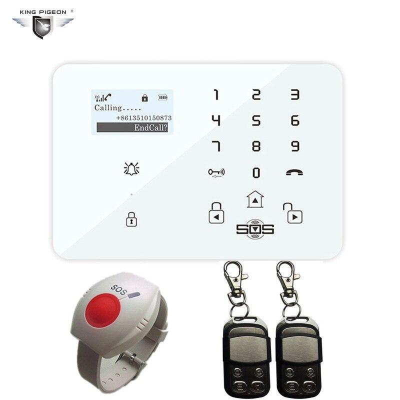 Бесплатная доставка GSM сигнализация Системы Android безопасности дома pensonal пожилых сигнализации Беспроводной 433 мГц Дистанционное управление ...