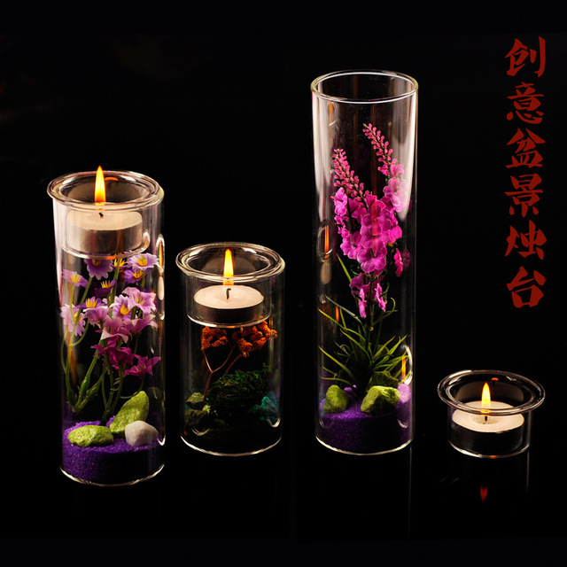 O Roselif Diy Potted Candlestick Glass Candlestick Dinner Candle