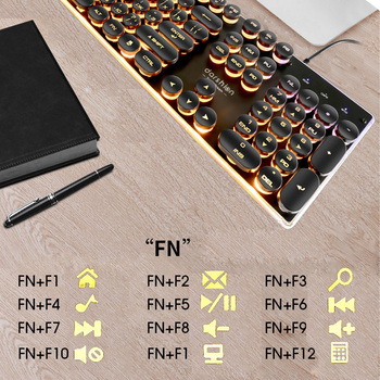 Steampunk Retro Gaming Keyboard Russian/English Layout Round Keycap Backlit USB Wired Glowing Metal Panel Crystal Border 3