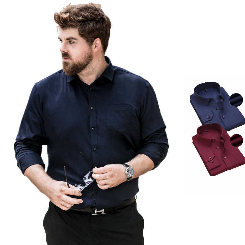 Dark Red Navy Blue Office Long Sleeve Diagonal Stripes Men Dress Shirts 5XL Non Iron Male Easy Care Formal Tops Business Shirts