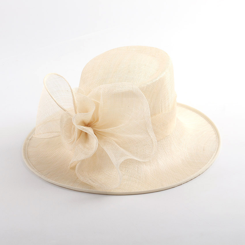 Mingli Tengda Natural Cambric Bride Hats Pure Manual Monochrome Ma'am Wedding Party Hat Ivory Dome Big Exaggerated Hat Headwear