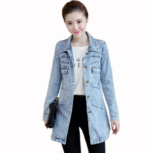 Spring Summer Denim Jacket Women Slim Long Base Coat Frayed Navy Blue Plus Size 5xl Jeans Jackets Coats
