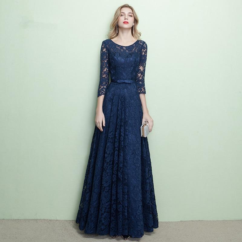 Bleu Royal Robe En Dentelle A-ligne grande taille tenue de fête Sash Dos Nu à lacets Mère Fille Robe De soirée Robe col rond de Soirée