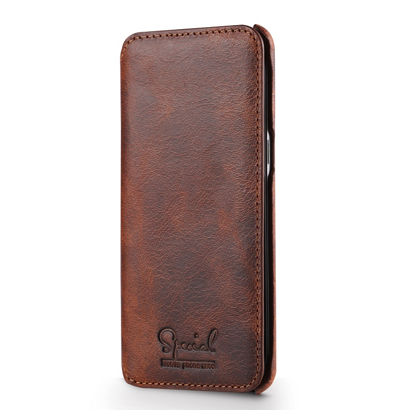 Dark brown real leather case for samsung galaxy s8 genuine leather cover