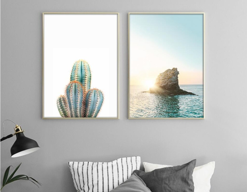 nueva carta de cactus nrdico mar canvas art print poster pared cuadros para la decoracin