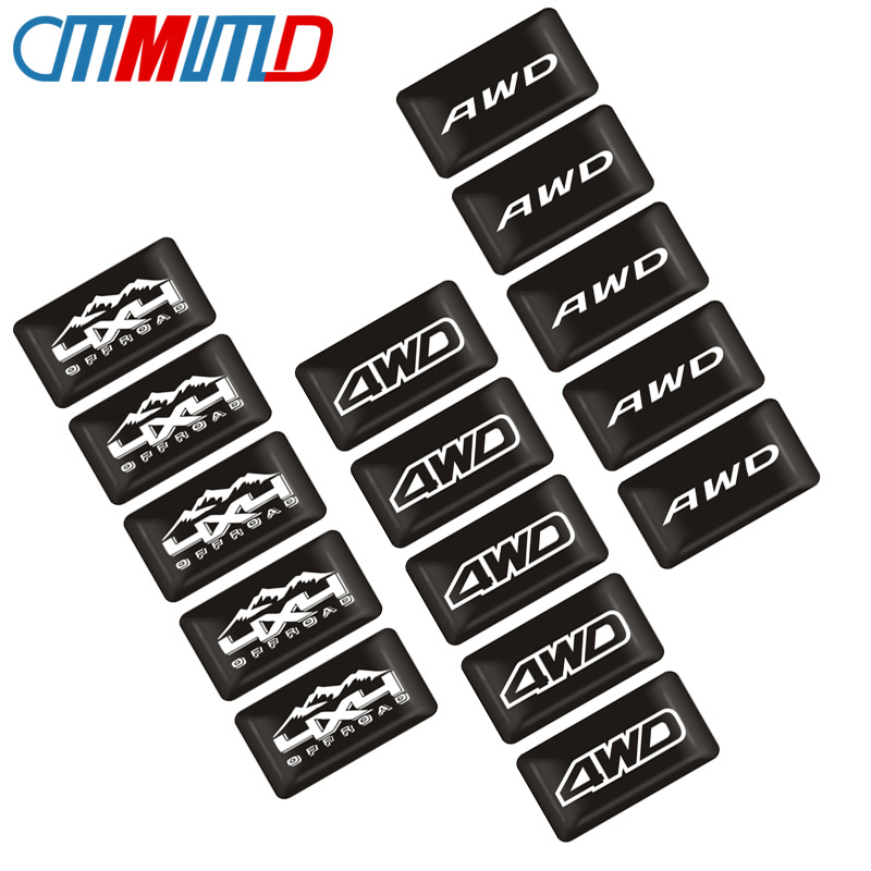 Car Styling 10pcs 3D Epoxy Sticker AWD Emblem 4WD Badge Logo decoration Decal for Toyota Impreza Honda 4X4 Off Road SUV image
