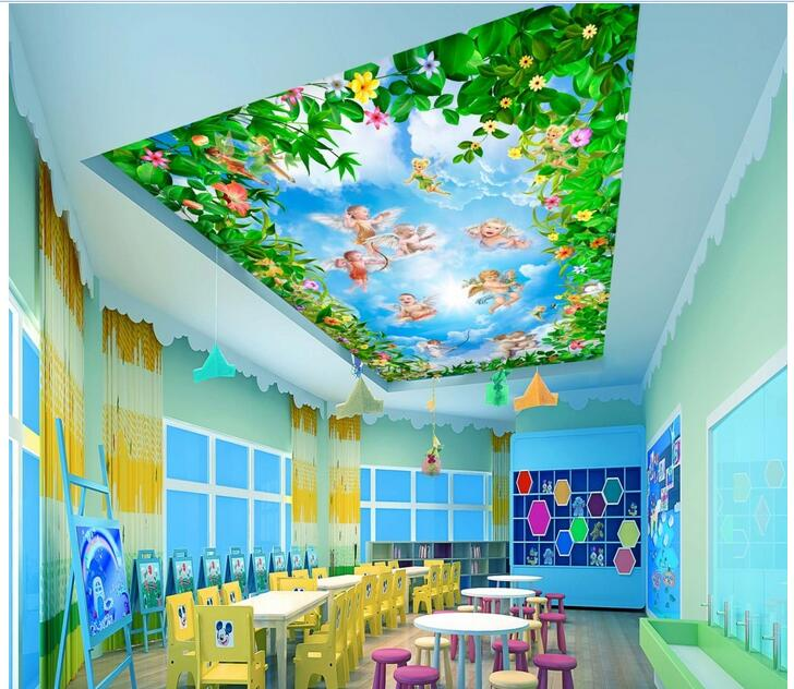 3d wallpaper custom photo non-woven mural picture Flowers small angel painting sky ceiling wallpaper floral room decoration ceiling non woven wallpapr home decoration wallpapers for living room 3d mural wallpaper ceiling customize size