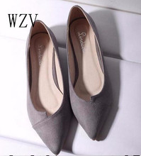 WZV 2017 Women Shoes Woman Flats high quality suede Casual Comfortable pointed toe Rubber Women Flat Shoe Hot Sale New Flats