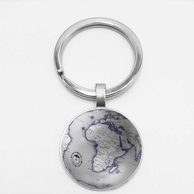 Mundo terra Mapa Sete Oceania Tempo Keychain De Vidro Globo Retro Carro Chaveiro Pendurado Fivela DIY Foto Personalização