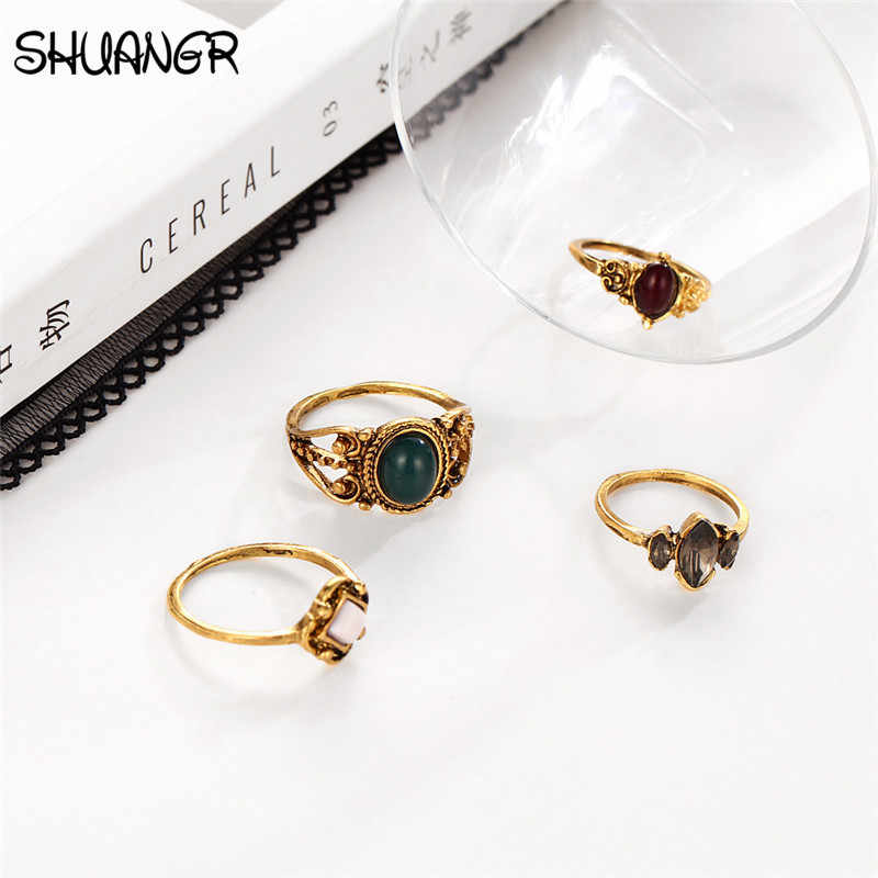 SHUANGR Bohemian Multicolor ตุรกีดอกไม้ Midi ชุดแหวน Punk สไตล์อะคริลิคคริสตัลแหวน Anillos เครื่องประดับชาย