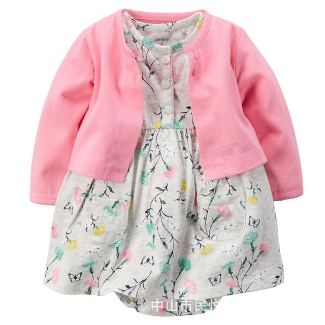 2016 nuevo bebé ropa de verano 100% algodón de la ropa del mono + dress traje de deportes del bebé recién nacido bebé bebes