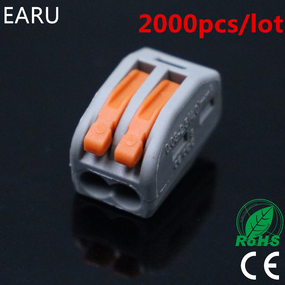 2000pcs for Russian 222-412 PCT-212 Universal Compact Wire Wiring Connector 2pin Conductor Terminal Block Lever 0.08-2.5mm2