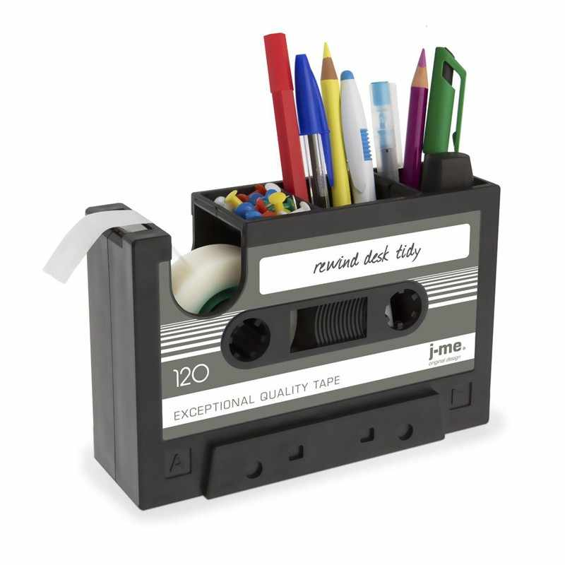 Cassette Tape Dispenser Pen Holder Vase Pencil Pot Stationery Desk Tidy Container Office Stationery Supplier Gift(black)