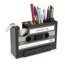 Cassette Tape Dispenser Pen Holder Vase Pencil Pot Stationery Desk Tidy Container Office Stationery Supplier Gift(black) все цены