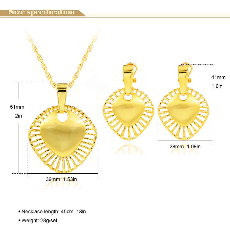 Ensoleillé bijoux en alliage déclaration bijoux 2019 pour les femmes collier boucles d'oreilles pendentif bijoux ensembles coeur creux pour cadeau de mariage de fête