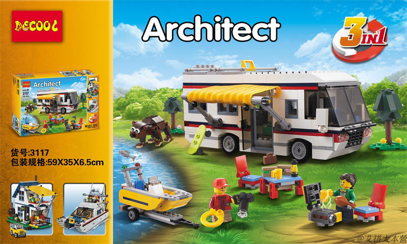3Model DECOOL 3117 792pcs Creator Vacation car Getaways Blocks Model Toys gifts FIT for Legoe City 31052 for minifigure technic gonlei 3117 city creator 3 in 1 vacation getaways building blocks bricks kids model toys marvel compatible with