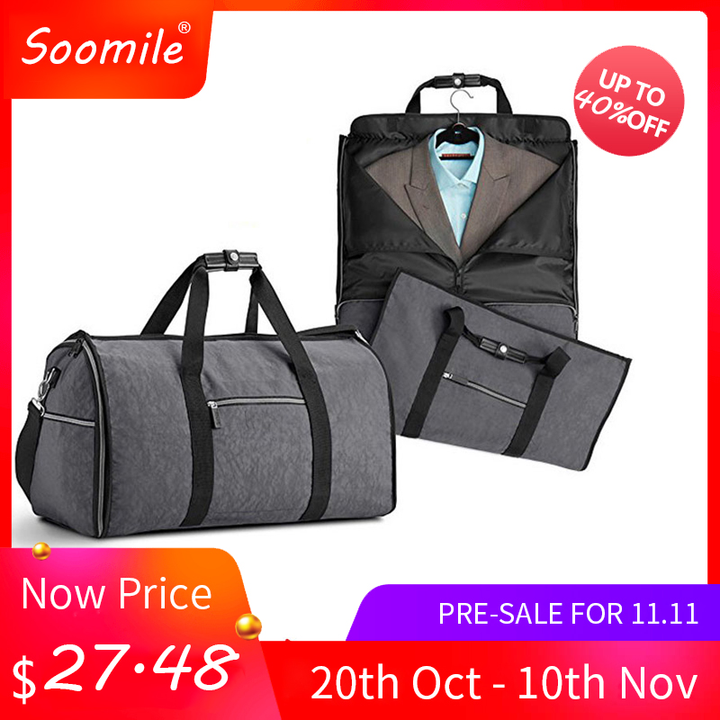 Soomile 2018 new men duffle bag 2 in 1 Suit case travel bag big capacity Foldable luggage bag nylon travel tote Garment Bag цена 2017