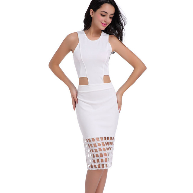 12be45db420f0 US $21.73 |Alibaba Express Fashion Women Pencil Dresses Brazil Sexy Cutout  Cut Out Waist Hollow Out Fringe Sleeveless White Dress Vestidos-in Dresses  ...