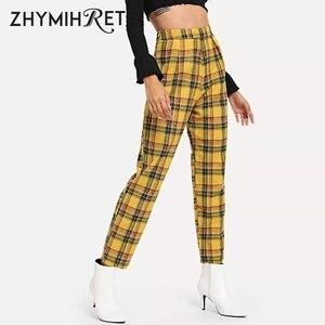 Image 1 - ZHYMIHRET Pantalon taille haute jaune à carreaux, Pantalon dété pour Femme, ample, fermeture éclair sur le côté, collection décontracté
