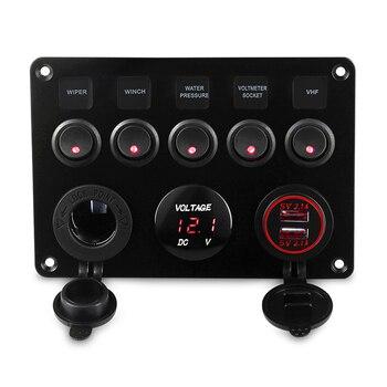 Panel de interruptor de barco marino de 5 bandas, circuito impermeable Led con voltímetro, Panel de cargador Dual Usb, interruptor de yate 12v 24v