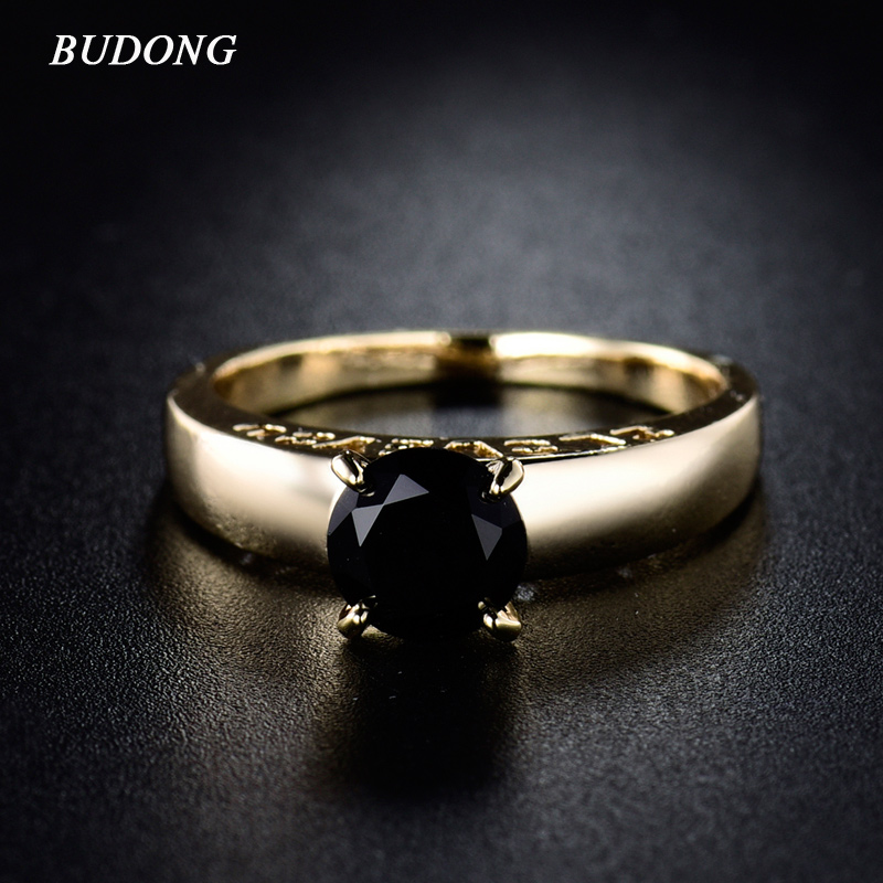 Fashion I LOVE YOU Engagement Rings for Women 2017 Round Gold-Color Ring Black Crystal Zicronia Ring Wedding Ring R126