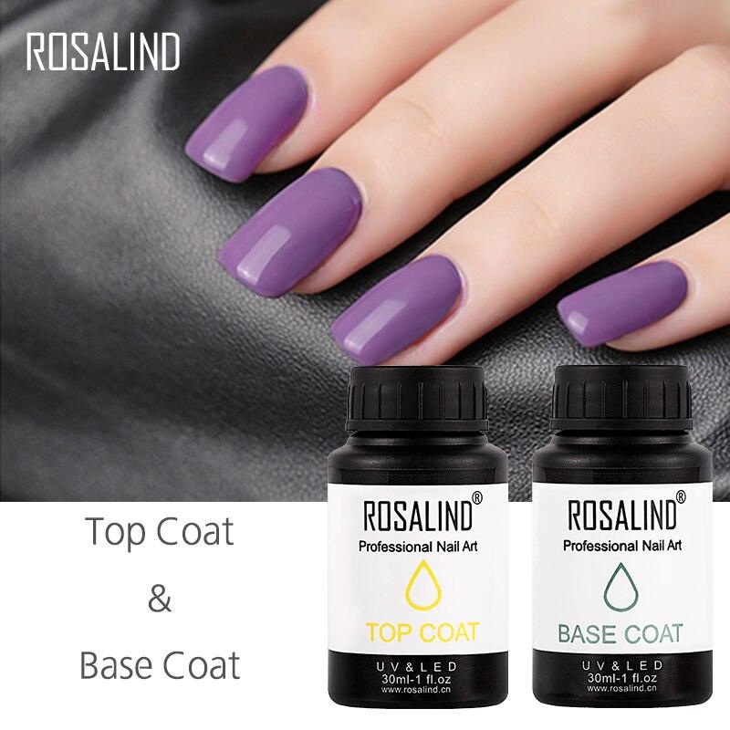ROSALIND Многофункциональный Топ и основа для гель-лака 30 мл дизайн ногтей праймер Гель для маникюра нужен УФ Замачивание Гель-лак для нейл-арта