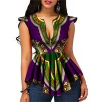 2019 Dashiki Women African Clothes Print For Women Bazin Africa Style Tops Lady Clothes Dashiki Print Shirt Women Clothing