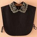Fashion women detachable collar golden thread embroidery collars beaded fake false shirts collar black decorative collars