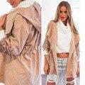 Causual Women Fashionable Turndown Collars Hooded Windbreaker Jackets 2016 Hot Sale