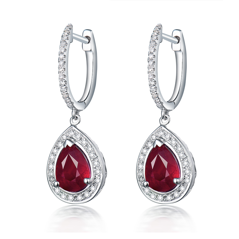 Ruby Jewelry Drop Earrings Vintage Pear 6x8mm In Solid 14Kt White Gold Natural Diamond Ruby Engagement Earrings