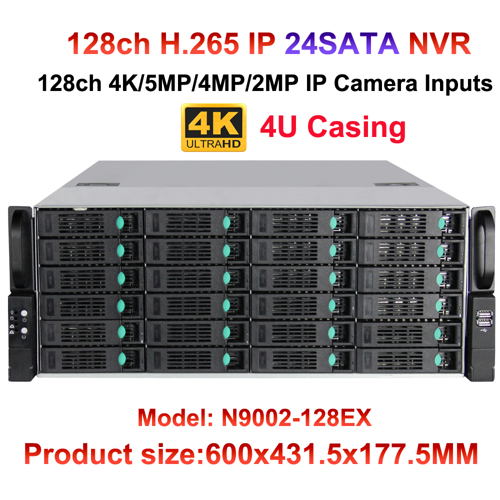 128CH 8MP 4 К ip видеонаблюдения NVR Камера Регистраторы 24 HDD Порты наблюдения NVR HDMI выход VGA 16ch сигнализации Вход Поддержка Onvif/P2P/аудио