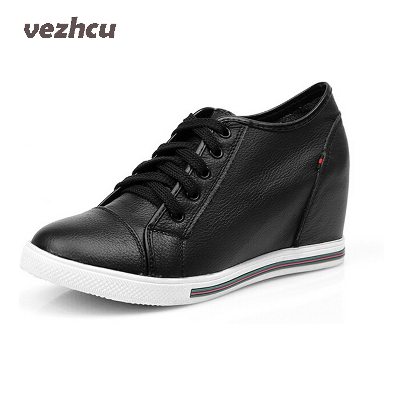 VZEHCU Women Autumn Boots Genuine Leather Height increasing Wedges Shoes Woman Leather Cowhide Ankle Boots 5c204 timetang 2017 new autumn winter women shoes woman genuine leather wedges snow boots height increasing ankle women boots size