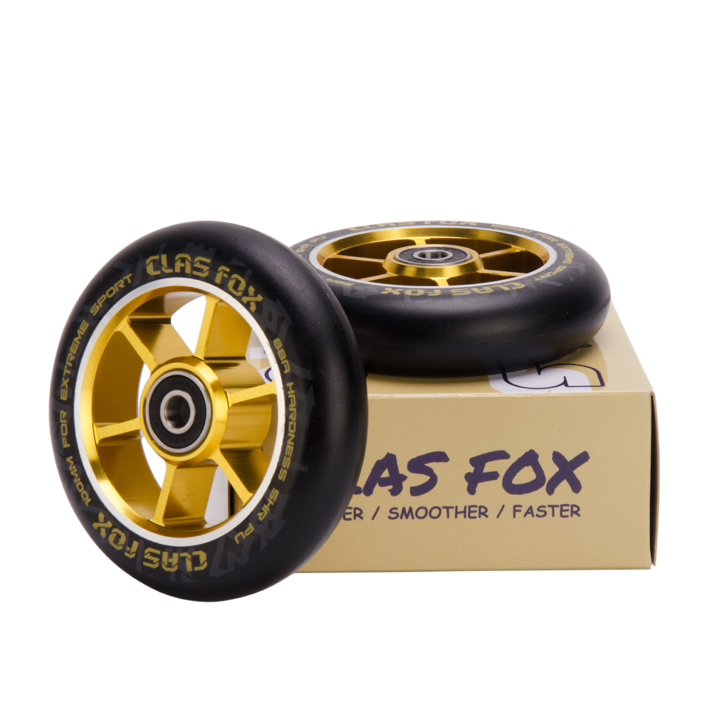 Send Free 2PCS White PU High Quality Neo-chrome Scooter Wheels 100MM With ABEC-9 Bearings
