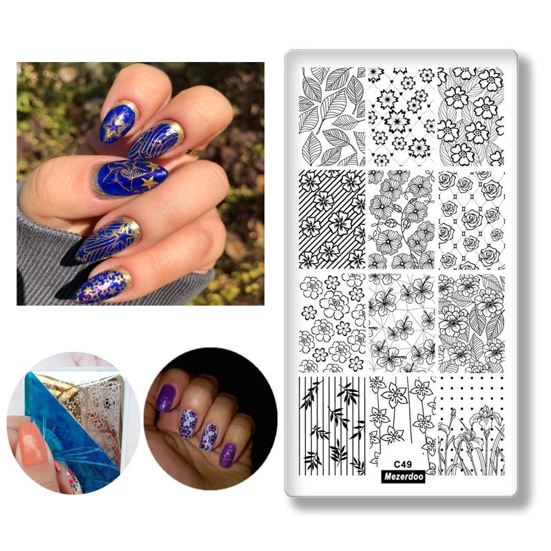 Blomblad Tema Rektangel Nail Art Stämpel Mall Bildplatta