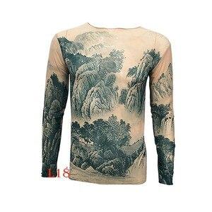 Image 4 - אופנה גברים של מזויף קעקוע חולצות ארוך שרוול אלסטי מודאלית דק כל מעל הדפסת O צוואר קעקוע חולצות נשים ליל כל הקדושים בגדים