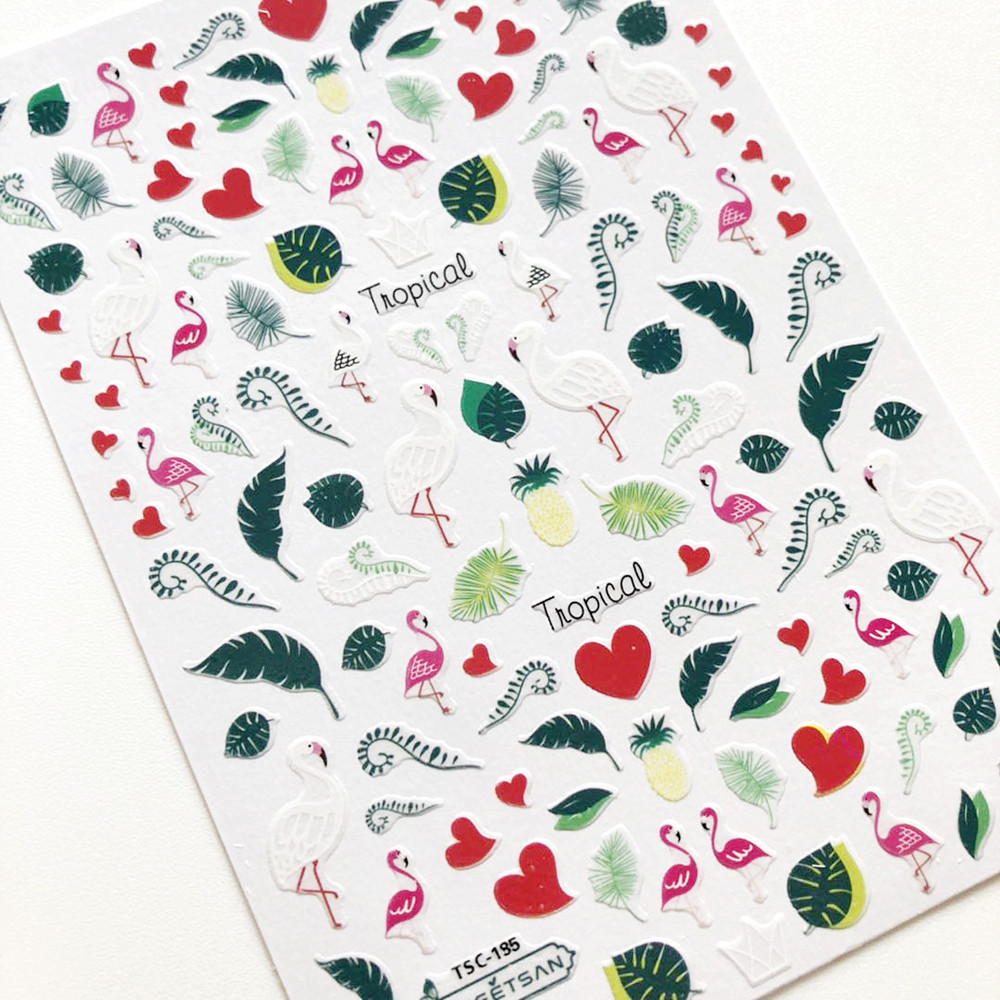 Newest TSC-185 flamingo green leaves design nail sticker 3d back adhesive decal decoration for  DIY art