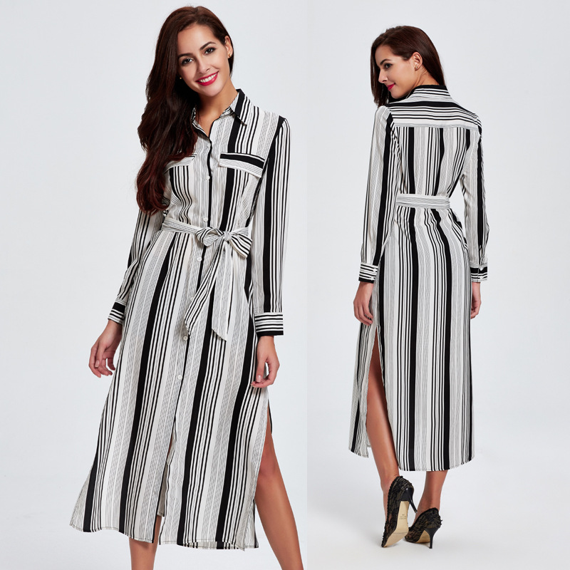 Women Dresses 2018 Autumn New Cotton Blend Long Sleeve Black White Striped Lady Casual Sashed Loose Madi Split Dress