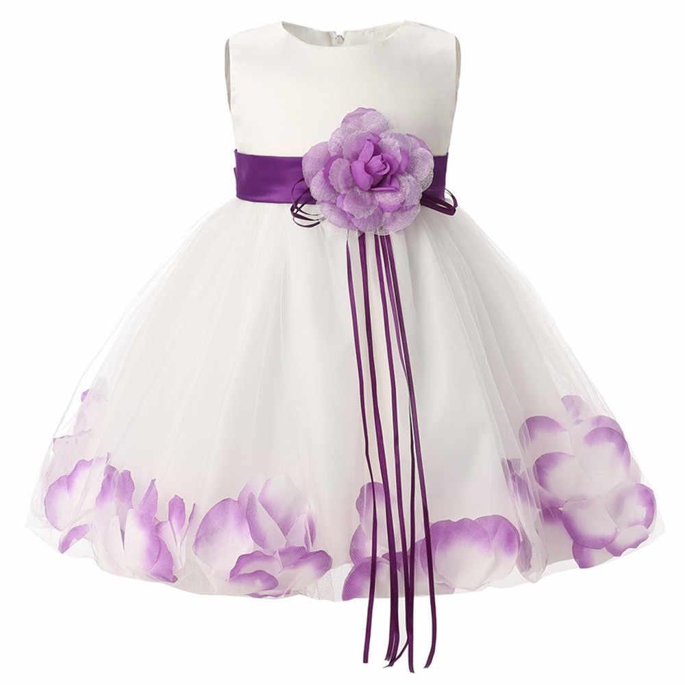 新生児ガール 1 年の誕生日ドレス花びら幼児洗礼ドレス幼児王女の 2 T