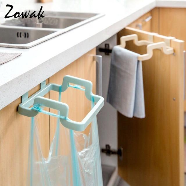 Hanging Kitchen Cupboard Door Back Style Stand Trash Garbage Bags Storage Rack Towel Rack Dish Cloth Hanger Frame Holder Cabinet In Storage Holders