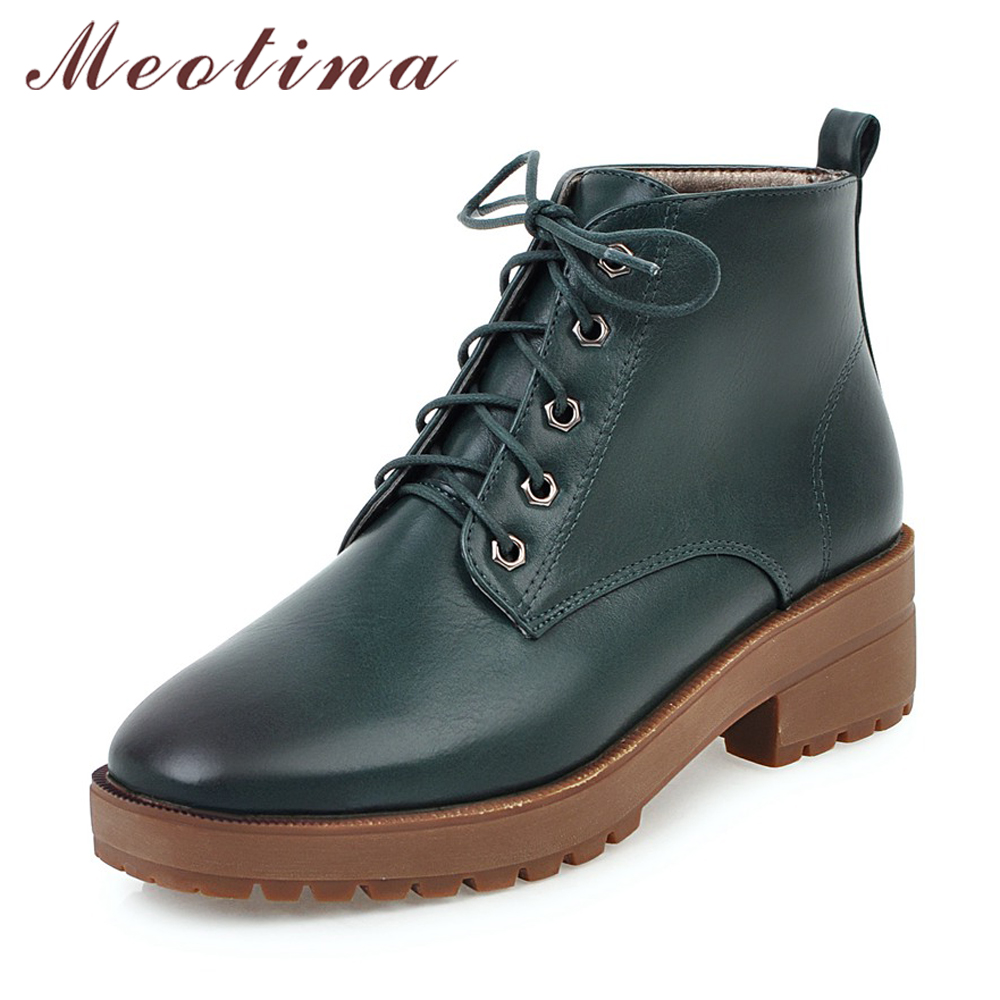 Meotina Women Short Boots Thick Heels Women Ankle Boots Low Heels Lace Up Woman Shoes Autumn Size 34-43 Ladies Winter Boots 2017 enmayla ankle boots for women low heels autumn and winter boots shoes woman large size 34 43 round toe motorcycle boots