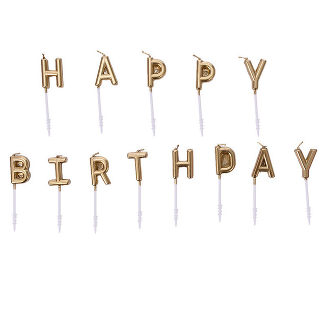 Happy Birthday Gold Color Party Candles