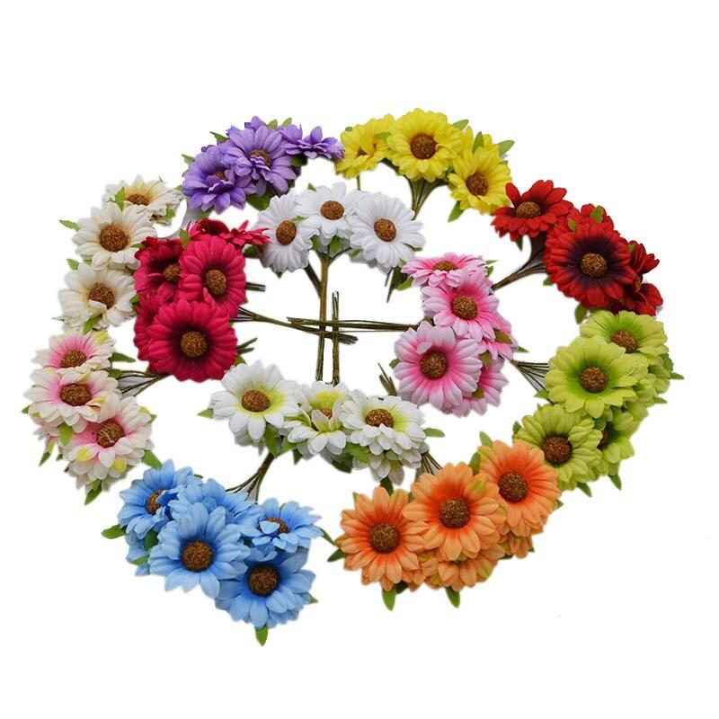 12 cái Hướng Dương người đứng đầu Hoa Lụa Hoa Cúc bó hoa trang trí nội thất home wedding vườn Embellishments DIY Craft Nguồn Cung Cấp