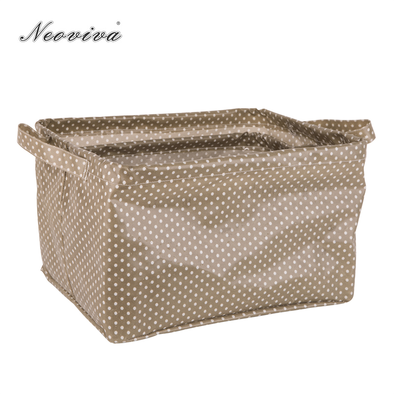 Neoviva Waterproof Open Storage Bin with Handles for Home Organization, Set of 3 in Different Sizes, Polka Dots Sugar Brown